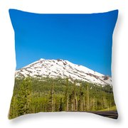 Highway Passing By Mountain Throw Pillow
