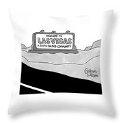 Highway Sign That Says Welcome To Las Vegas Throw Pillow