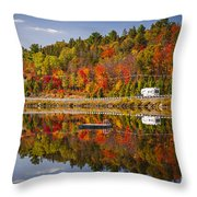 Highway Through Fall Forest Throw Pillow