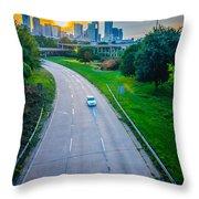 Highway Traffic Near A Big City Throw Pillow