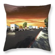 Highway Truck Stop Sunset Panorama Throw Pillow