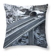 Higway Tunnel With A Bridge Throw Pillow