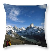 Hiker Admiring Cerro Torre And Fitzroy Throw Pillow