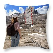 Hiker And Directions Throw Pillow