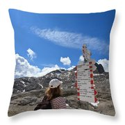 Hiker Find The Way Throw Pillow