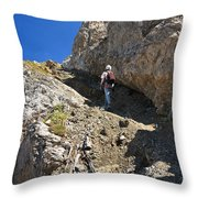 hiker in Dolomites Throw Pillow