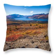 Hiker In Fall-colored Tundra Throw Pillow