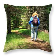 Hiker In The Forest Throw Pillow
