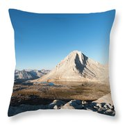 Hiker Looking Over Royce Lakes Throw Pillow