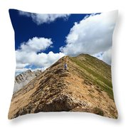 Hiker On Mountain Ridge Throw Pillow