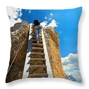 Hiker On Wooden Staircase Throw Pillow