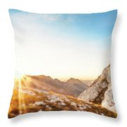 Hiker Standing On Rock Formation Throw Pillow