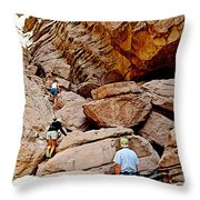Hikers Enter Ladder Canyon From Big Painted Canyons Trail In Mecca Hills-ca  Throw Pillow