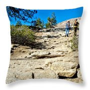 Hikers On Sentinel Dome Trail In Yosemite Np-ca  Throw Pillow