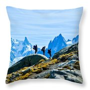 Hiking Above Chamonix On The Lac Blanc Trail Throw Pillow