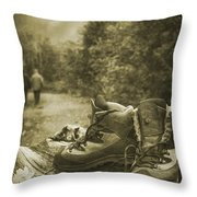 Hiking Boots Throw Pillow