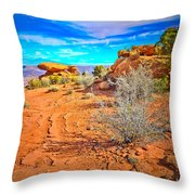 Hiking In Canyonlands Throw Pillow