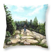 Hiking In Maine Throw Pillow