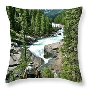 Hiking In Mistaya Canyon Along Icefield Parkway In Alberta Throw Pillow