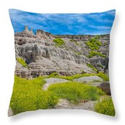Hiking In The Badlands Throw Pillow