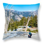 Hiking On Barren Rock On Sentinel Dome In Yosemite Np-ca Throw Pillow