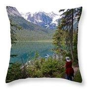 Hiking On Emerald Lake Trail In Yoho Np-bc Throw Pillow