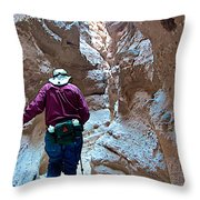 Hiking Through Narrow Slot Of Ladder Canyon Trail In Mecca Hills-ca Throw Pillow