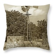Hill Country Windmill Throw Pillow