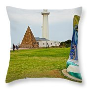 Hill Lighthouse Built In 1861 And Donkin Memorial Pyramid Honoring The Wife Of Sir Rufus Donkin-sout Throw Pillow