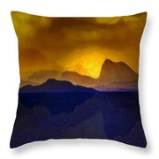 Hills In The Distance At Sunset Throw Pillow