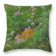 Hillside Of Wildflowers Throw Pillow