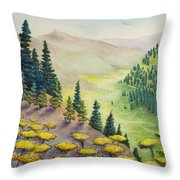 Hillside Of Yarrow Flowers With Pine Tress Throw Pillow