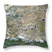 Himalaya Mountains Asia True Colour Satellite Image  Throw Pillow