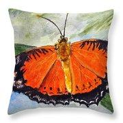 Himalayan Red Lacewing Throw Pillow