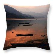 Phewa Lake, Pokhara, Nepal Throw Pillow