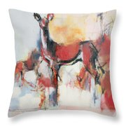 Hinds In Winter Throw Pillow
