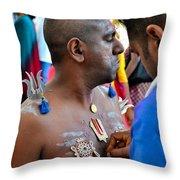 Hindu Devotees Prepare For Thaipusam Festival Singapore Throw Pillow