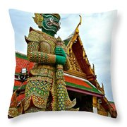 Hindu Figure At Grand Palace Of Thailand In Bangkok Throw Pillow