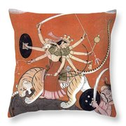 Hindu Goddess Durga Fights Mahishasur Throw Pillow by Photo Researchers