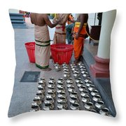 Hindu Priests Prepare Offering To Gods Throw Pillow