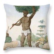 Hindu Servant Cutting Grass, The Throw Pillow