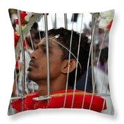 Hindu Thaipusam Festival Pierced Devotee In Singapore Throw Pillow