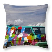 Hippie Man Van Throw Pillow
