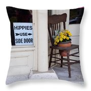Hippies Use Side Door Throw Pillow by Louise Heusinkveld