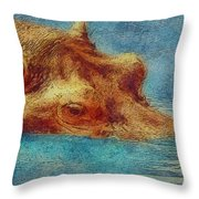 Hippo - Happened At The Zoo Throw Pillow