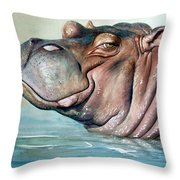 Hippo Lisa Throw Pillow
