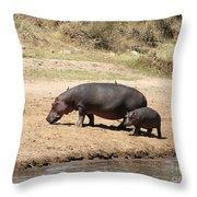 Hippo Mum And Calf Throw Pillow