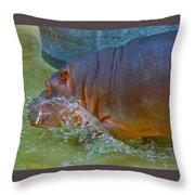 Hippo Taking A Plunge Throw Pillow