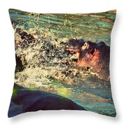 Hippopotamus Fight In River. Serengeti. Tanzania Throw Pillow