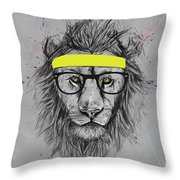 Hipster Lion Throw Pillow